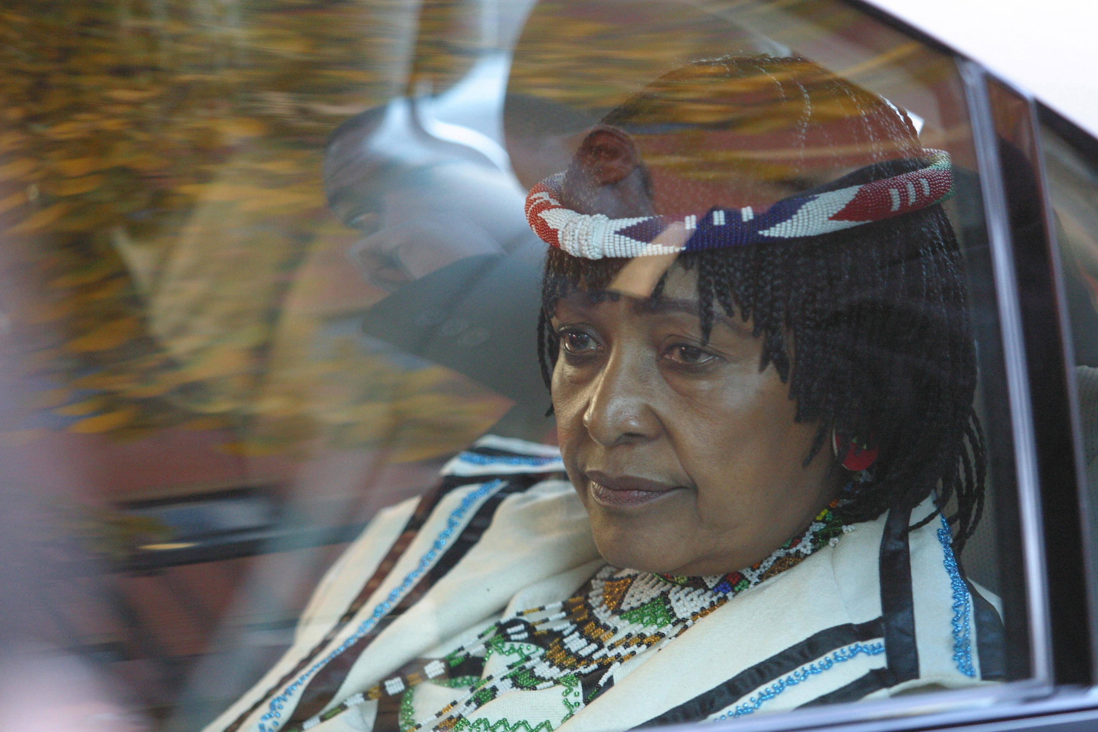 24 May 2004: Winnie Madikizela-Mandela leaving the high court in Tshwane where she appealed the five-year jail sentence imposed on her in connection with bank loans she obtained from her employees. She was acquitted of all fraud charges.(Photograph by Oryx Media Archive/Gallo Images/Getty Images)