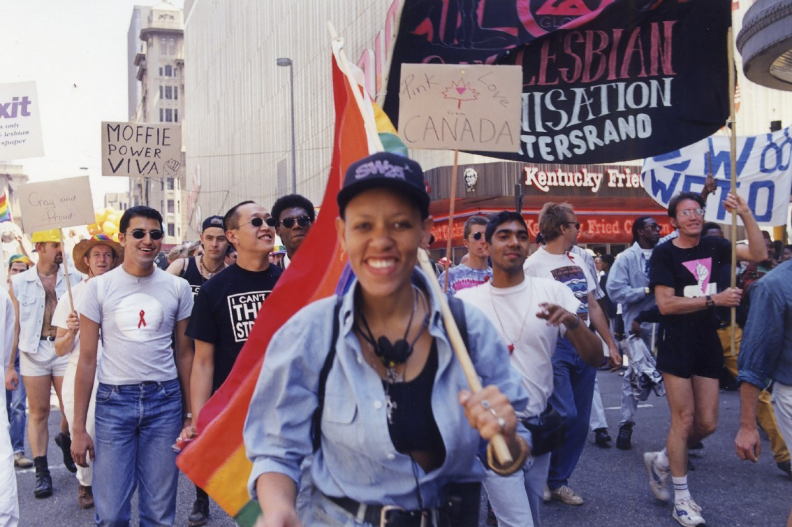 1996: Queer activist Beverley Ditsie at the Joburg Pride march. (Rose Pereira Collection, Gala Queer Archives)