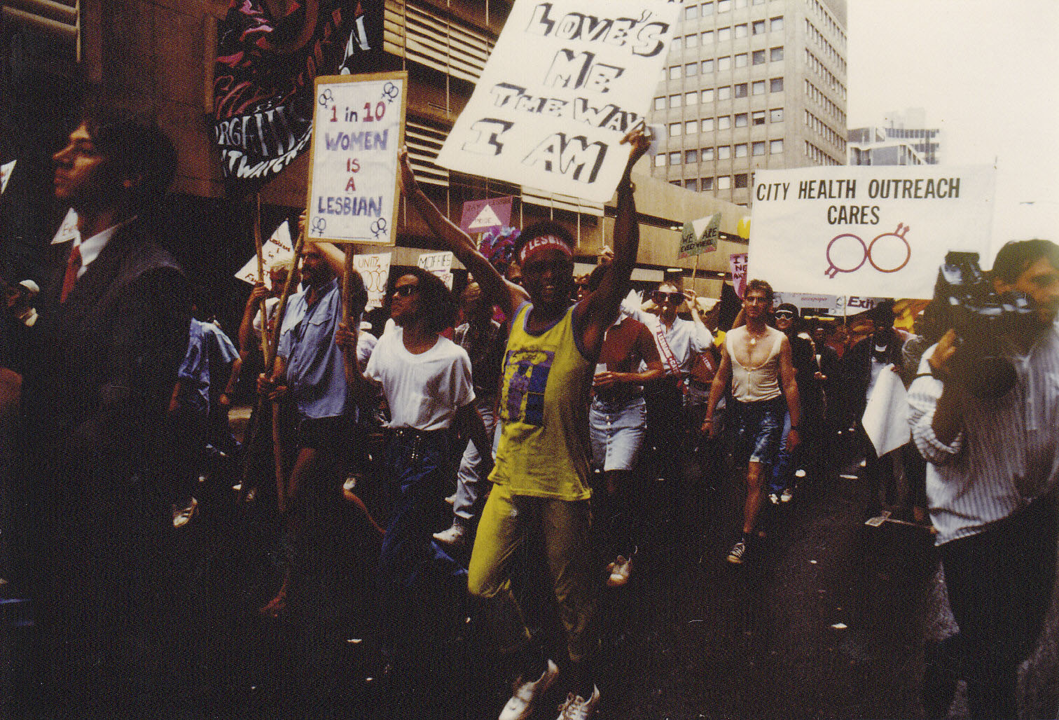 13 October 1990: Marching through the streets of Hillbrow during the first Pride march in Johannesburg. (Donne Rundle Collection, Gala Queer Archive)