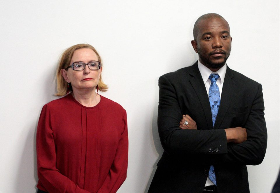 23 October 2019: Former DA leader Mmusi Maimane and federal council chair Helen Zille during Maimane's resignation announcement in Johannesburg. (Photograph by Gallo Images/Sowetan/Veli Nhlapo)