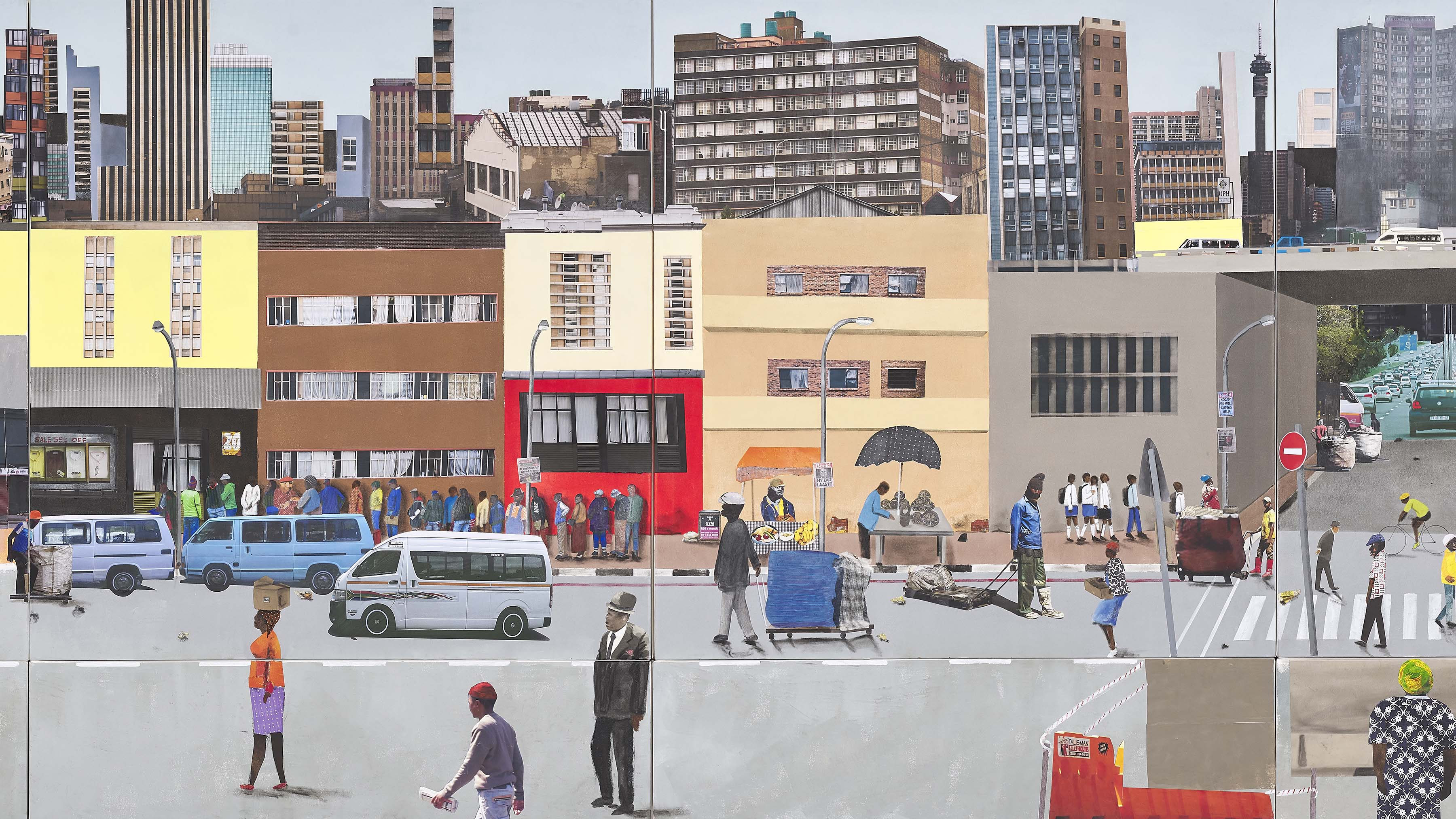 2019: I love Jozi a collage by Sam Nhlengethwa is one of the works on show in his latest exhibition, Joburg Selected, which opened at the Goodman Gallery in Johannesburg. (Artwork by Sam Nhlengethwa)
