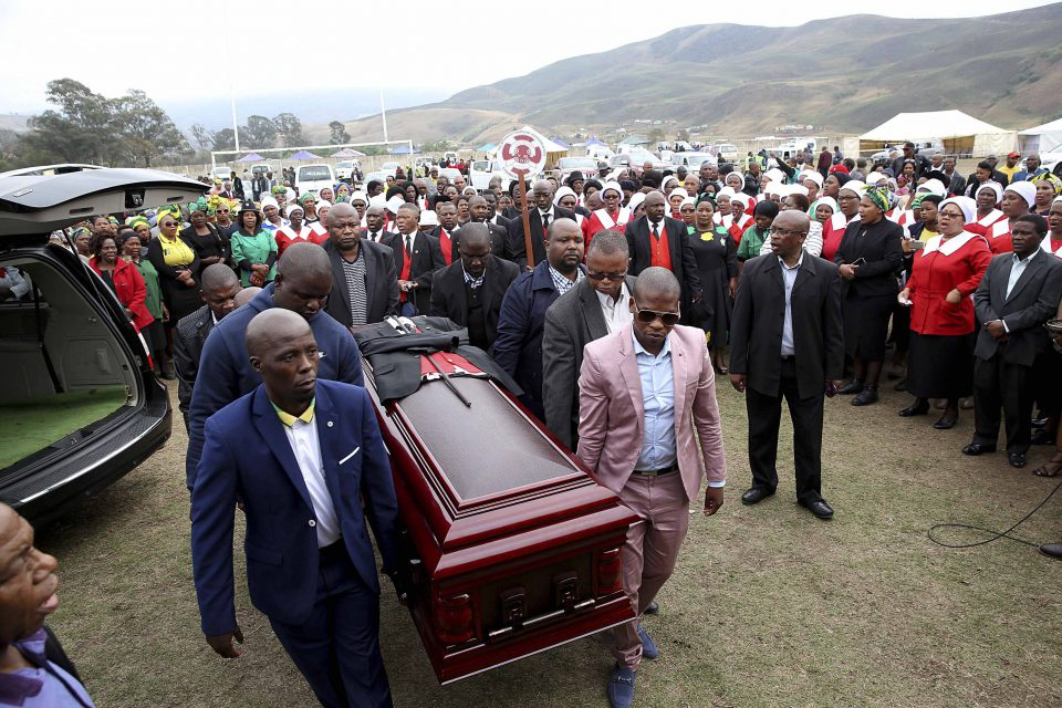 16 September 2017: The funeral of slain former ANC Youth League secretary general Sindiso Magaqa in Umzimkulu. Sindiso was a friend of Thabiso Zulu, who recently survived an assasination attempt. (Photograph by Gallo Images/Sunday Times/Thuli Dlaminii)