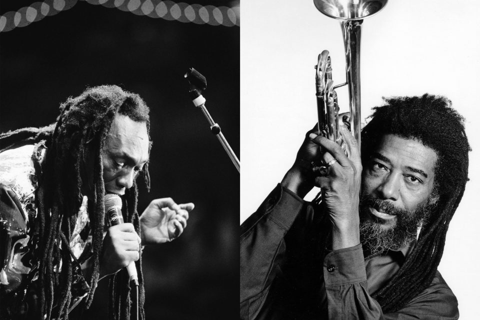 4 August 1990: Zimbabwean musician Thomas Mapfumo (left) at the Africa Festival in Delft, the Netherlands. (Photograph by Frans Schellekens/Redferns) 2001: United States-based jazz composer and trumpeter Ishmael Wadada Leo Smith (right). (Photograph by Jack Mitchell/Getty Images)