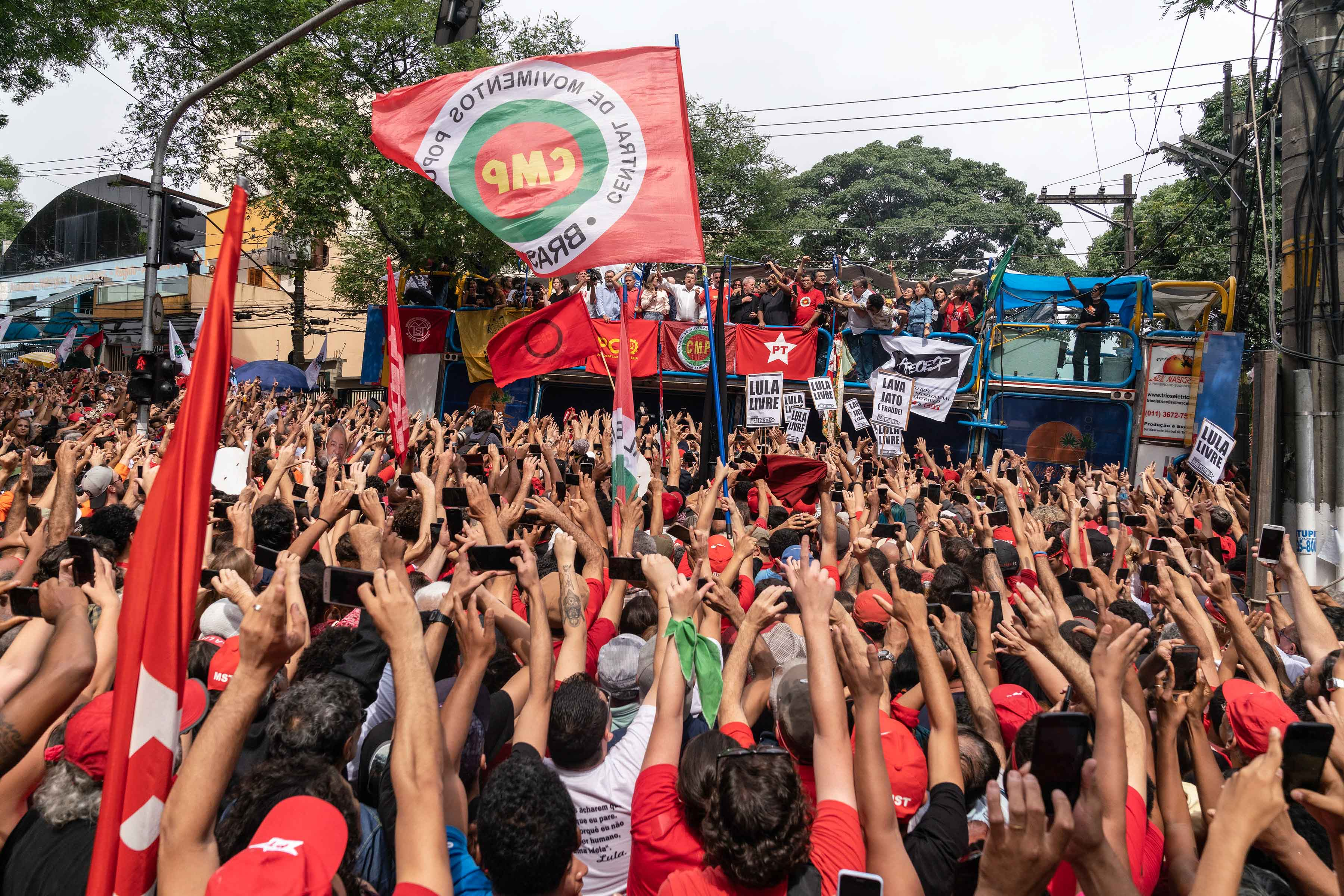 9 November 2019: People cheer as they get a glimpse of Luiz Inácio Lula da Silva.