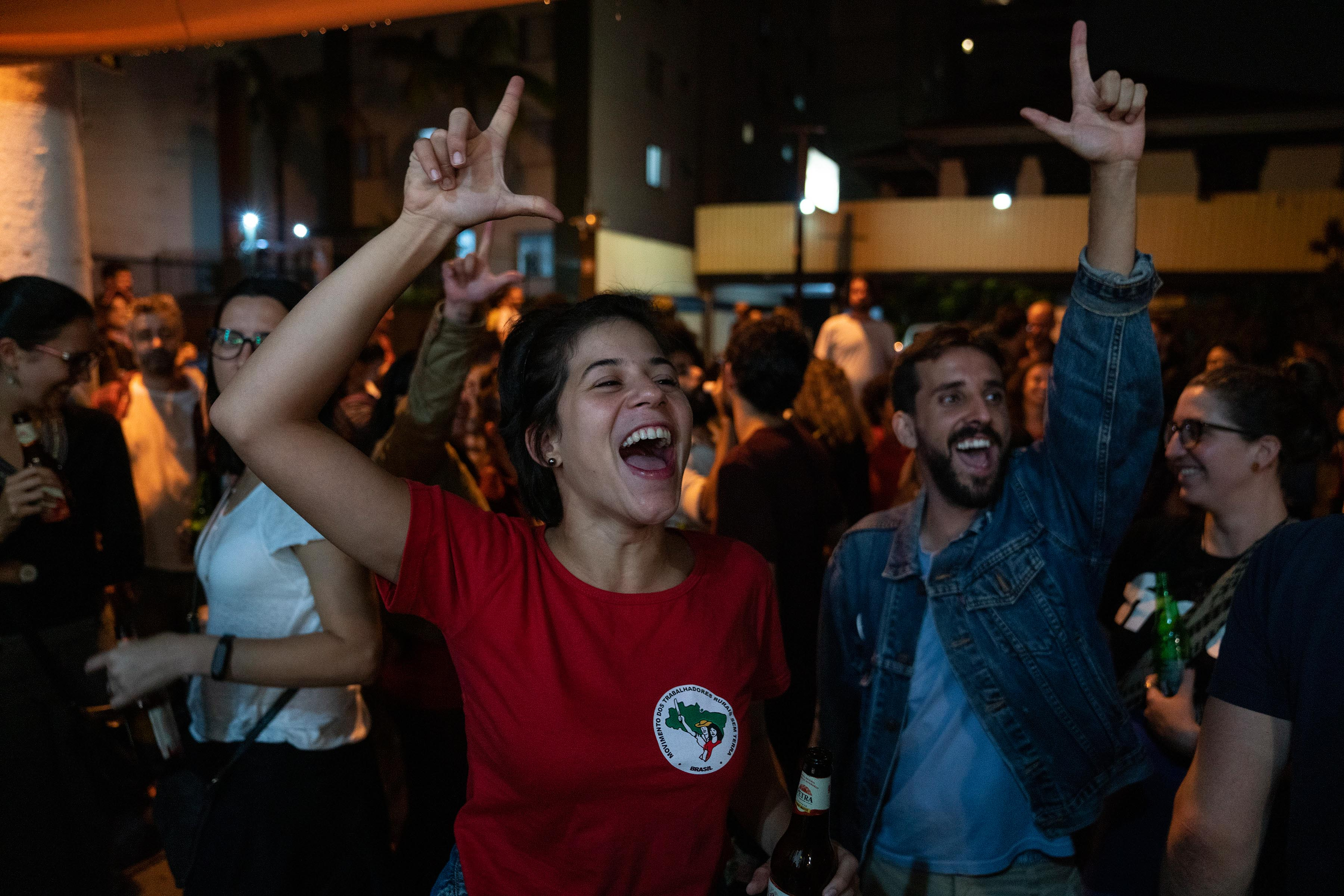 8 November 2019: People celebrate outside the offices of the Landless Rural Workers Movement in São Paulo after news broke that former Brazilian president Luiz Inácio Lula da Silva had been released from jail.