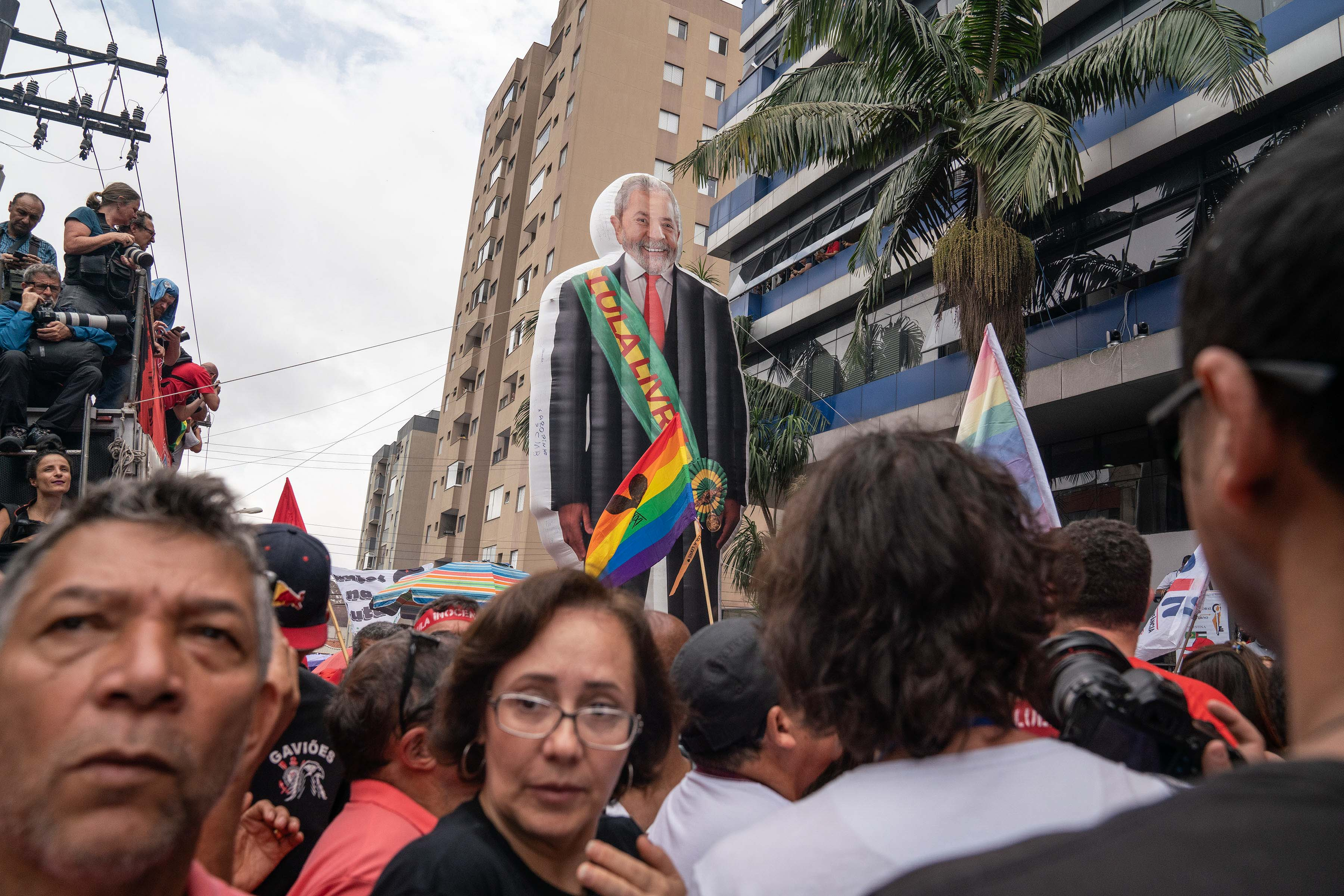 9 November 2019: A giant blow-up figure of Luiz Inácio Lula da Silva is part of the celebration at the rally held after his release from prison.