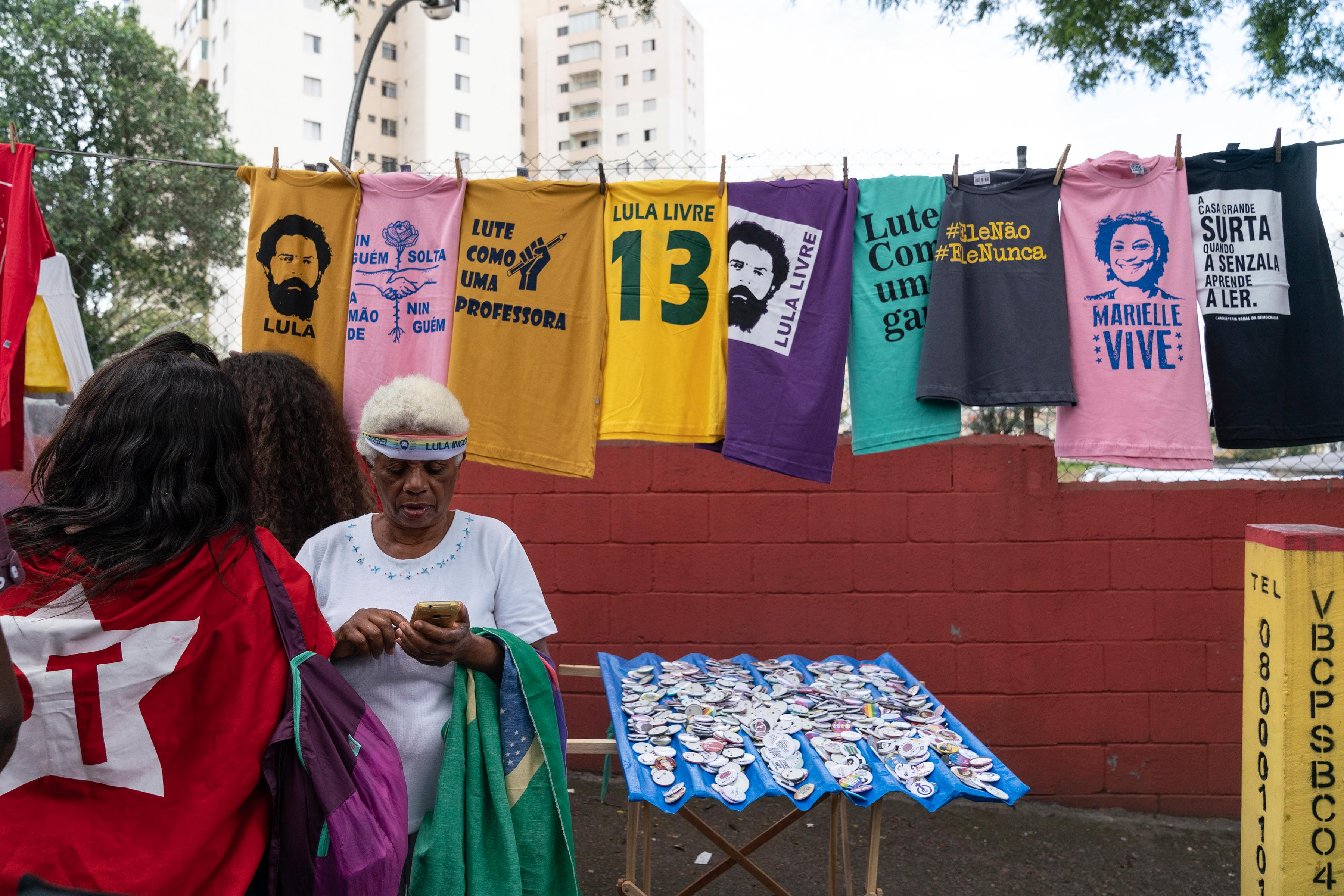 9 November 2019: T-shirts for sale bear the face of former Brazilian president Luiz Inácio Lula da Silva, who was released from prison after a ruling by the Supreme Court.