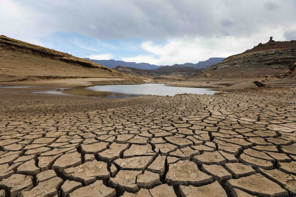 22 October 2019: The almost waterless Fika-Patso dam near QwaQwa in the Free State. The area is experiencing the worst drought in modern history. (Photograph by Alastair Russell/The Sunday Times)