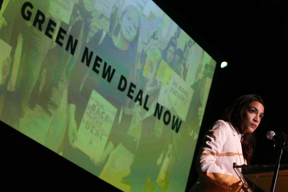 13 May 2019: US Representative Alexandria Ocasio-Cortez advocates for the Green New Deal during a rally at Howard University in Washington, DC. (Photograph by Alex Wong/Getty Images)
