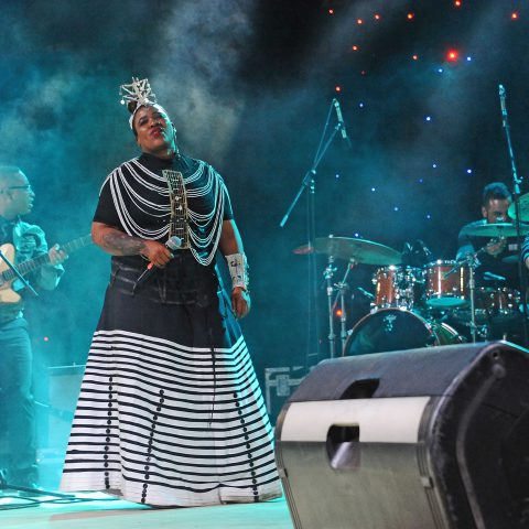 9 November 2019: Thandiswa Mazwai performing during the Hugh Masekela Heritage Festival at the Soweto Theatre Precinct in Johannesburg. (Photograph by Oupa Bopape/Gallo Images)