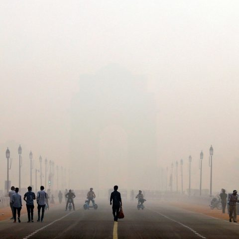 12 November 2019: The smog-covered India Gate war memorial in New Delhi shows the extent of the recent air pollution in India's urban centres. (Photograph by Reuters/Anushree Fadnavisa)