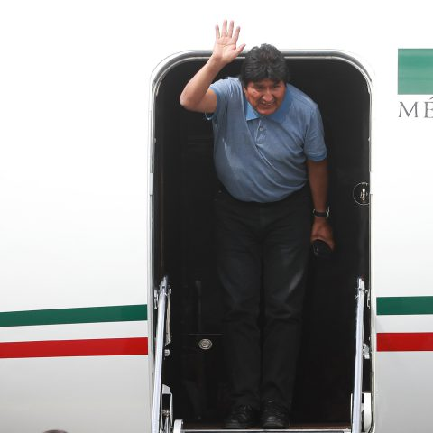 12 November 2019: Evo Morales, former president of Bolivia, arrives at Benito Juarez International Airport in Mexico after accepting the political asylum offered him by the Mexican government. (Photograph by Hector Vivas/Getty Images)