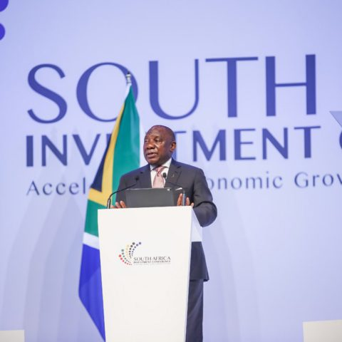 6 November 2019: President Cyril Ramaphosa addressing attendees at the gala dinner that formed part of the second South Africa Investment Conference held in Sandton, Johannesburg. (Photograph courtesy of the South Africa Investment Conference)