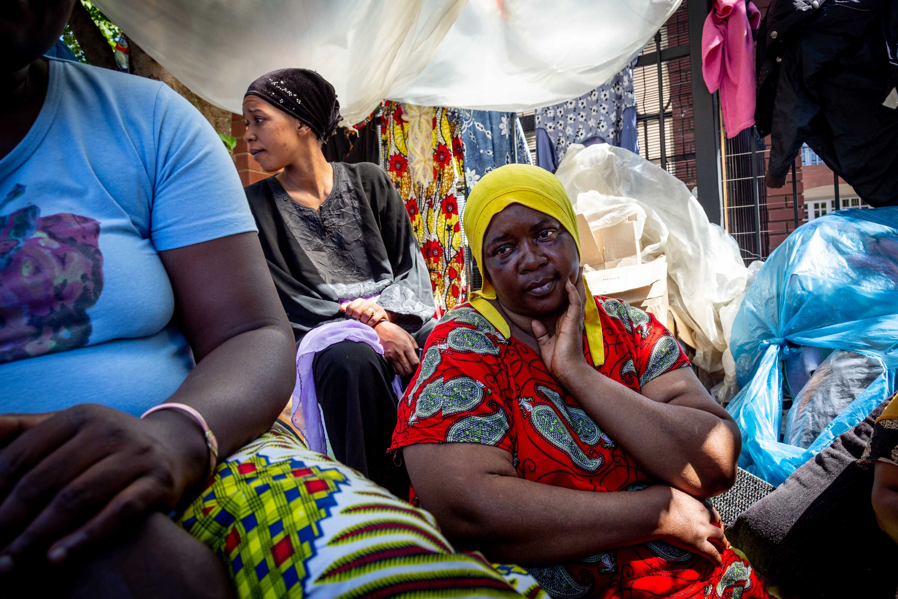 6 November 2019: Aisha Ramadani with friends. She fled the DRC, arriving in South Africa in 1999. Two of her seven children were born in South Africa, but despite having birth certificates they are often refused service at hospitals and schools.
