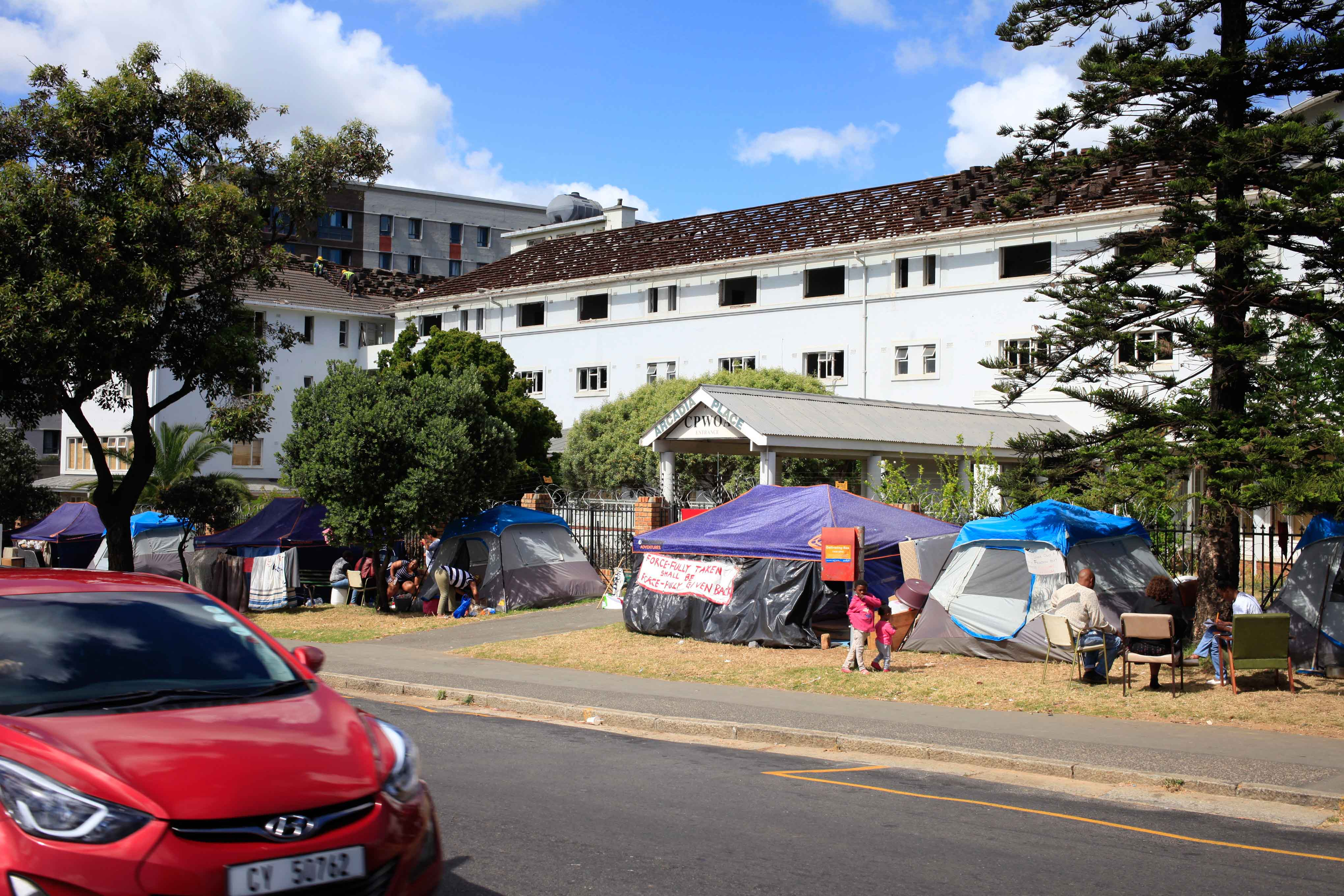 21 October 2019: The group of occupiers evicted from Arcadia Place in Observatory, Cape Town, in their donated tents.