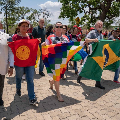 12 November 2019: People's Brics meeting attendees from around the world marching in solidarity with the people of Bolivia.