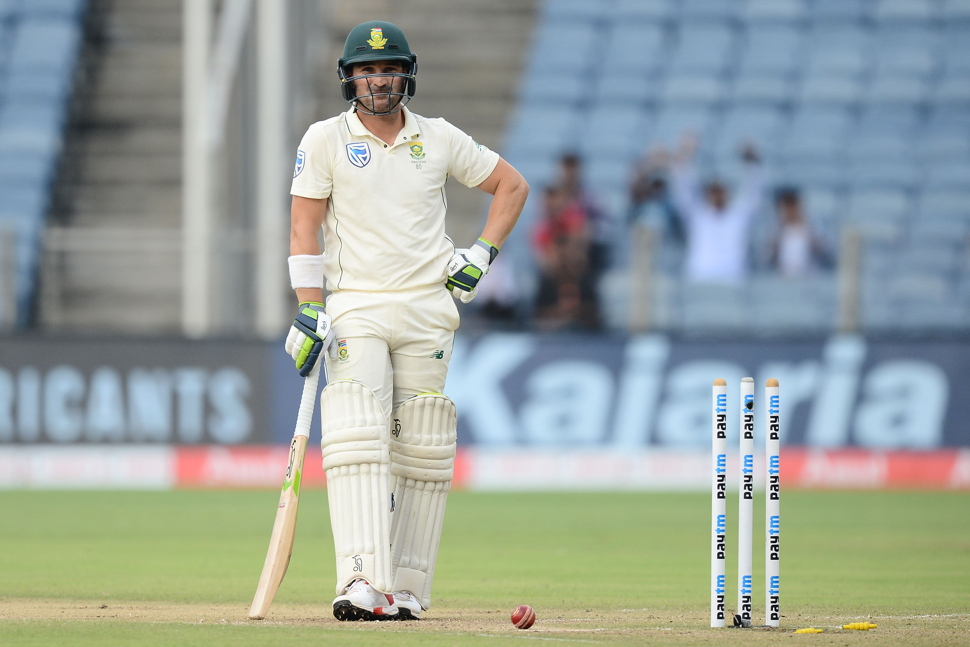 11 October 2019: South Africa's Dean Elgar after being bowled out on day two of the second Test against India at Maharashtra Cricket Association Stadium in Pune, India. (Photograph by Isuru Sameera Peris/Gallo Images)