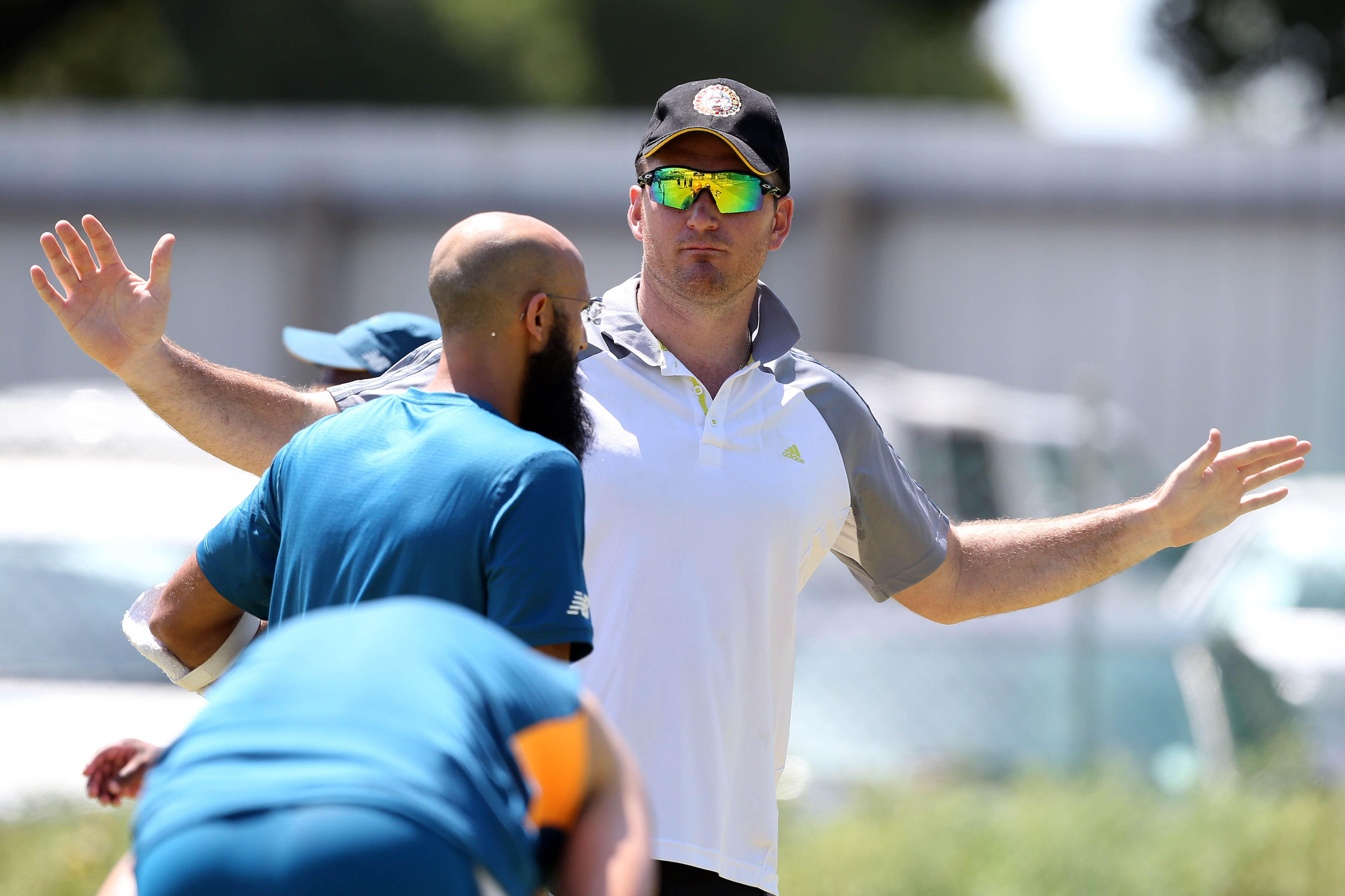 1 January 2019: Graeme Smith, in cap and sunglasses, talking to Hashim Amla during a South African national cricket team training session in Cape Town. (Photograph by Carl Fourie/Gallo Images)