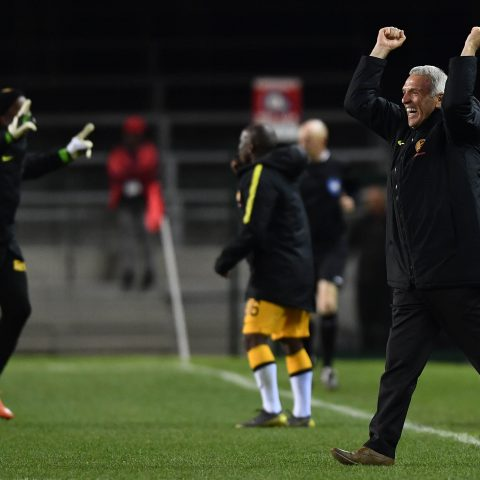 27 August 2019: Kaizer Chiefs coach Ernst Middendorp celebrates a goal during the Absa Premiership match against Cape Town City at Newlands Stadium in Cape Town, South Africa. (Photograph by Ashley Vlotman/Gallo Images)