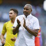 17 November 2019: Coach Molefi Ntseki went with a white shirt for Bafana Bafana's 2021 Afcon qualifier against Sudan at Orlando Stadium in Soweto, Johannesburg. (Photograph by Lefty Shivambu/Gallo Images)