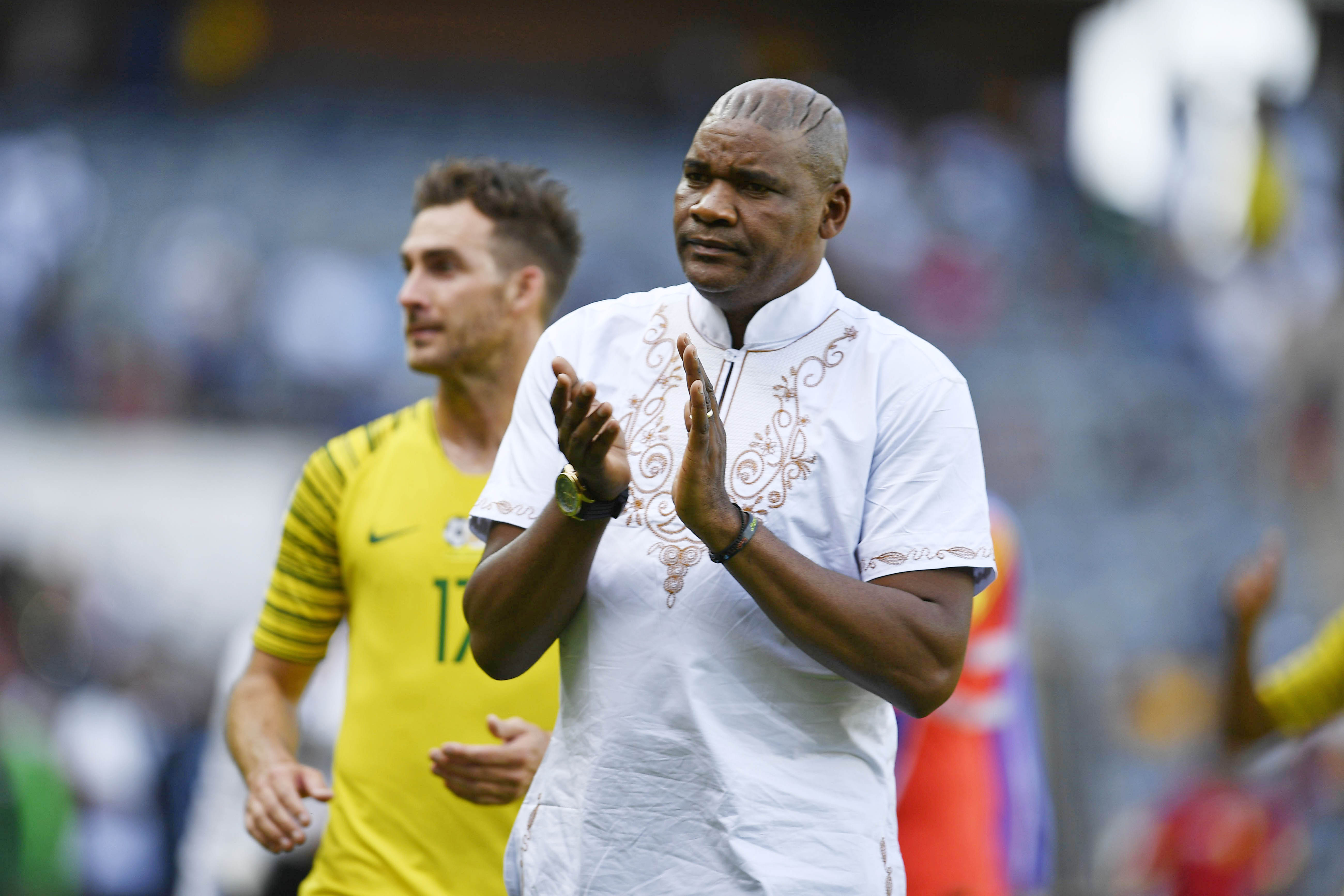 17 November 2019: Coach Molefi Ntseki went with a white shirt for Bafana Bafana's 2021 Afcon qualifier against Sudan at Orlando Stadium in Soweto, Johannesburg. (Photograph by Lefty Shivambu/Gallo Images)