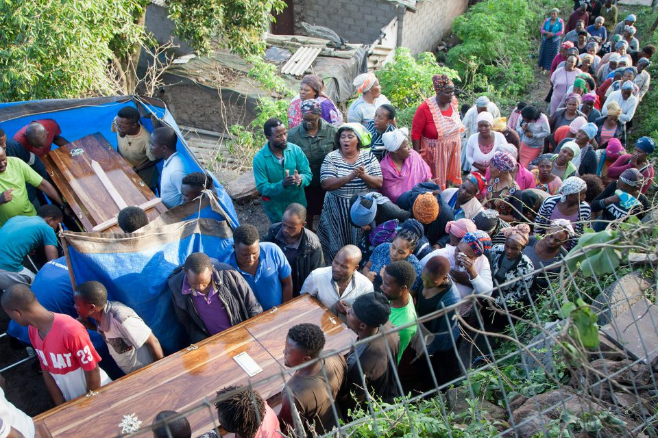 16 November 2019: The bodies of Aaron Zondi and Nomathamsanqa Nyangula arriving for the night vigil at their home in Amaoti, KwaZulu-Natal. The couple died when heavy rain caused the roof and a wall of their home to collapse on them as they slept.