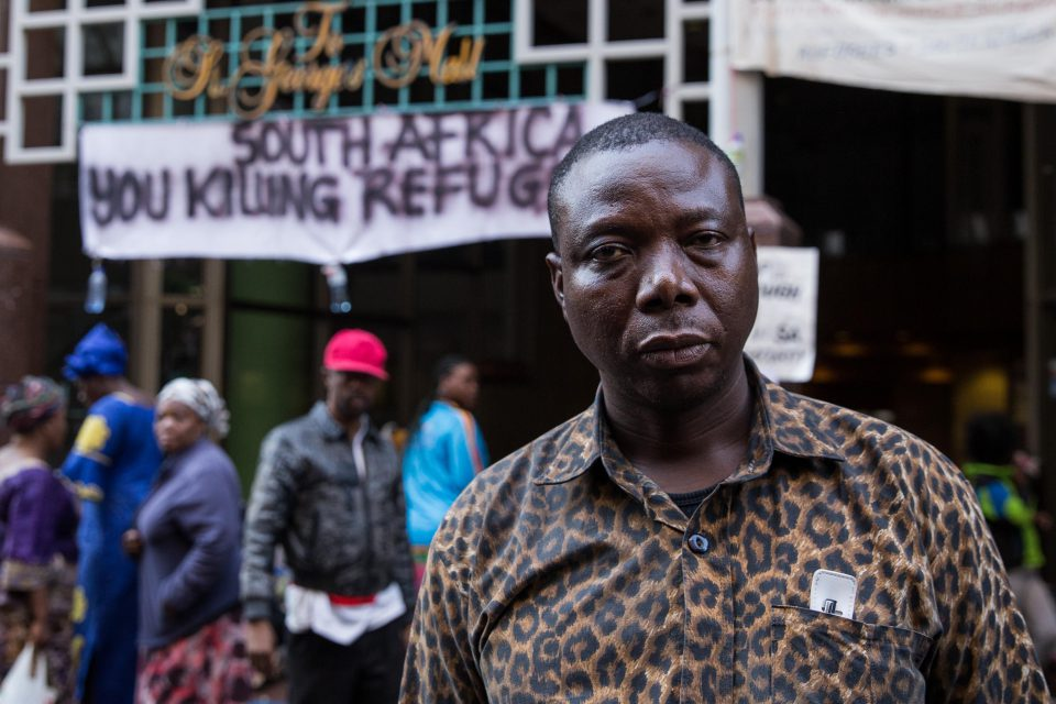 18 October 2019: Congolese refugee JP Balous has been leading the sit-in at the UNHCR office and the Central Methodist Church in Cape Town. (Photograph by GroundUp/Ashraf Hendricks)
