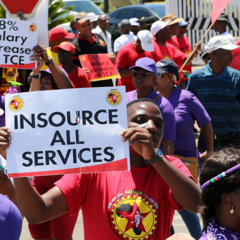 17 November 2019: Numsa and Sacca union members on strike at SAA's offices in Kempton Park, Ekurhuleni. (Photograph by Antonio Muchave/Sowetan)