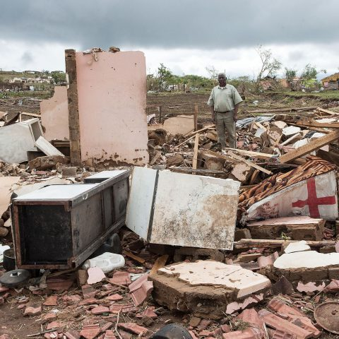 15 November 2019: Simon Ximba amid the rubble of his home after the tornado struck in New Hanover, KwaZulu-Natal.