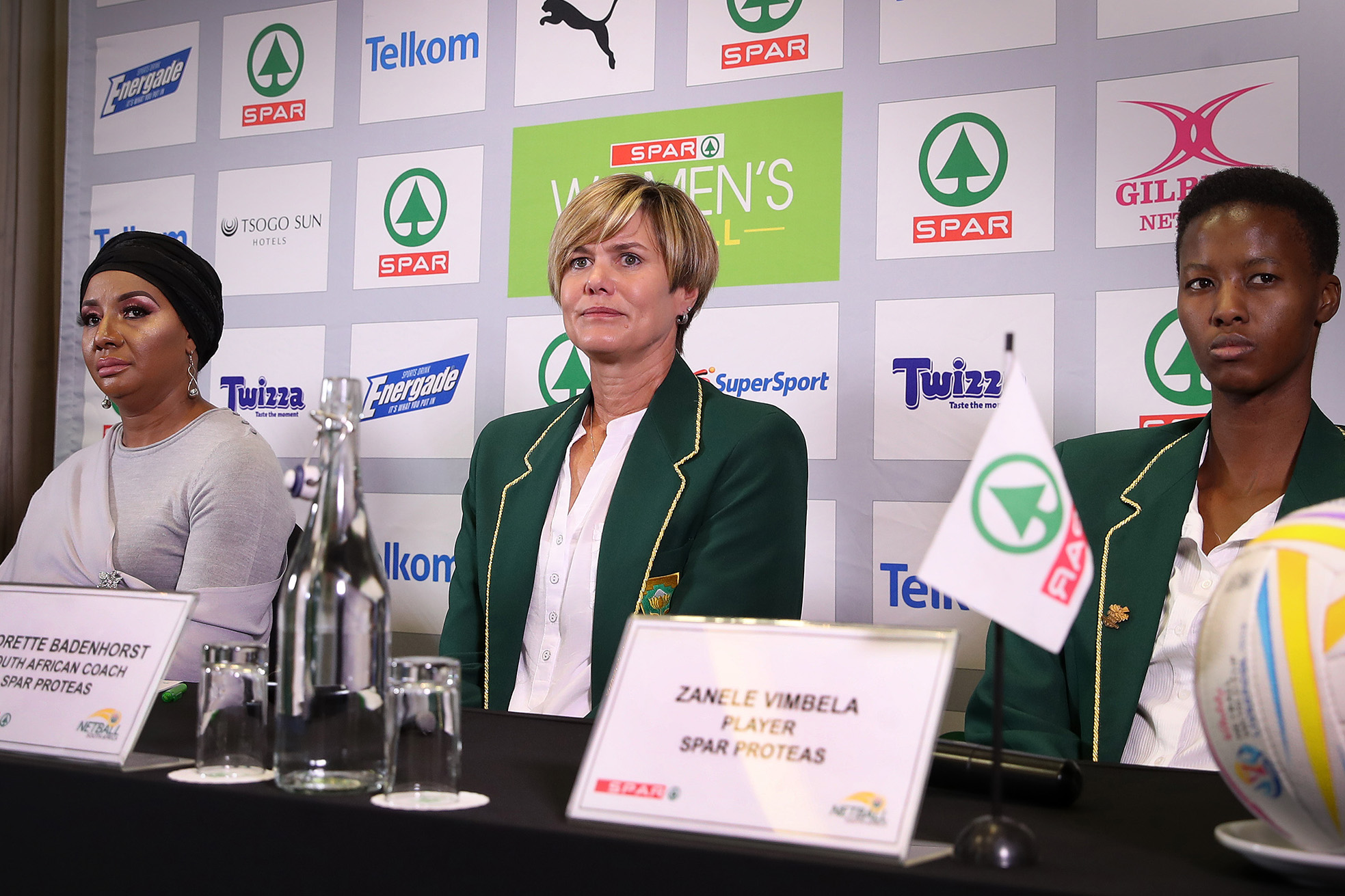 22 May 2019: From left, Netball SA president Cecilia Molokwane, coach Dorette Badenhorst and South African netball player Zanele Vimbela during the Spar Proteas team announcement for the 2019 Netball World Cup. (Photograph by Reg Caldecott/Gallo Images)