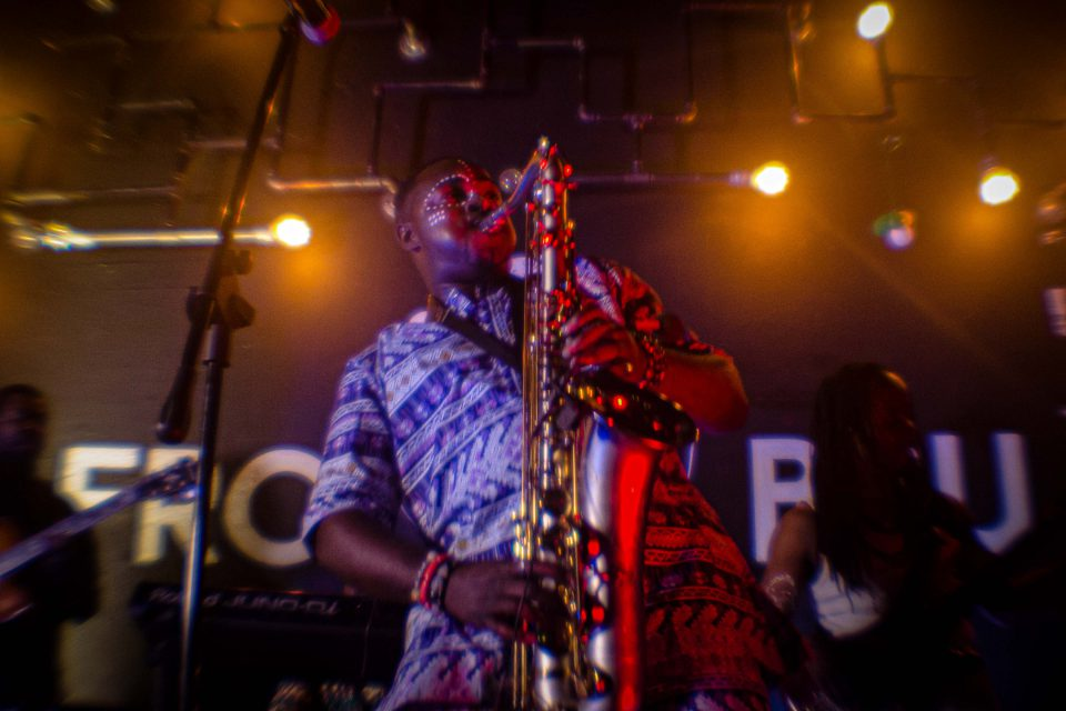 1 November 2019: Joburg-based Afrobeat musician Femi Koya celebrated the music of the genre's godfather, Fela Kuti, at the Felacantation event held at Afro Bru restaurant in downtown Johannesburg. (Photograph by Tseliso Monaheng)