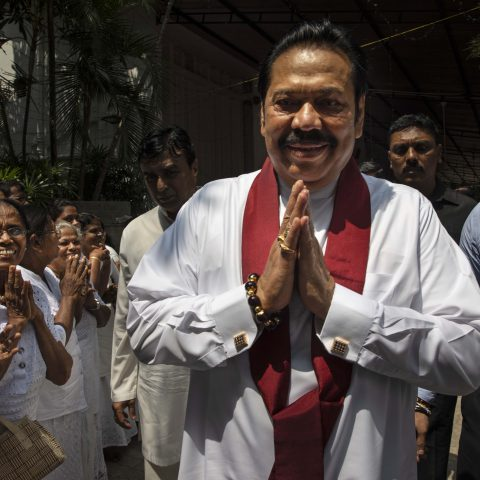 11 November 2018: Sri Lanka's vember 2019: Acting Prime Minister Mahinda Rajapaksa leaves a temple near his home in Colombo, Sri Lanka as political turmoil in the country deepens. (Photograph by Paula Bronstein/Getty Images)