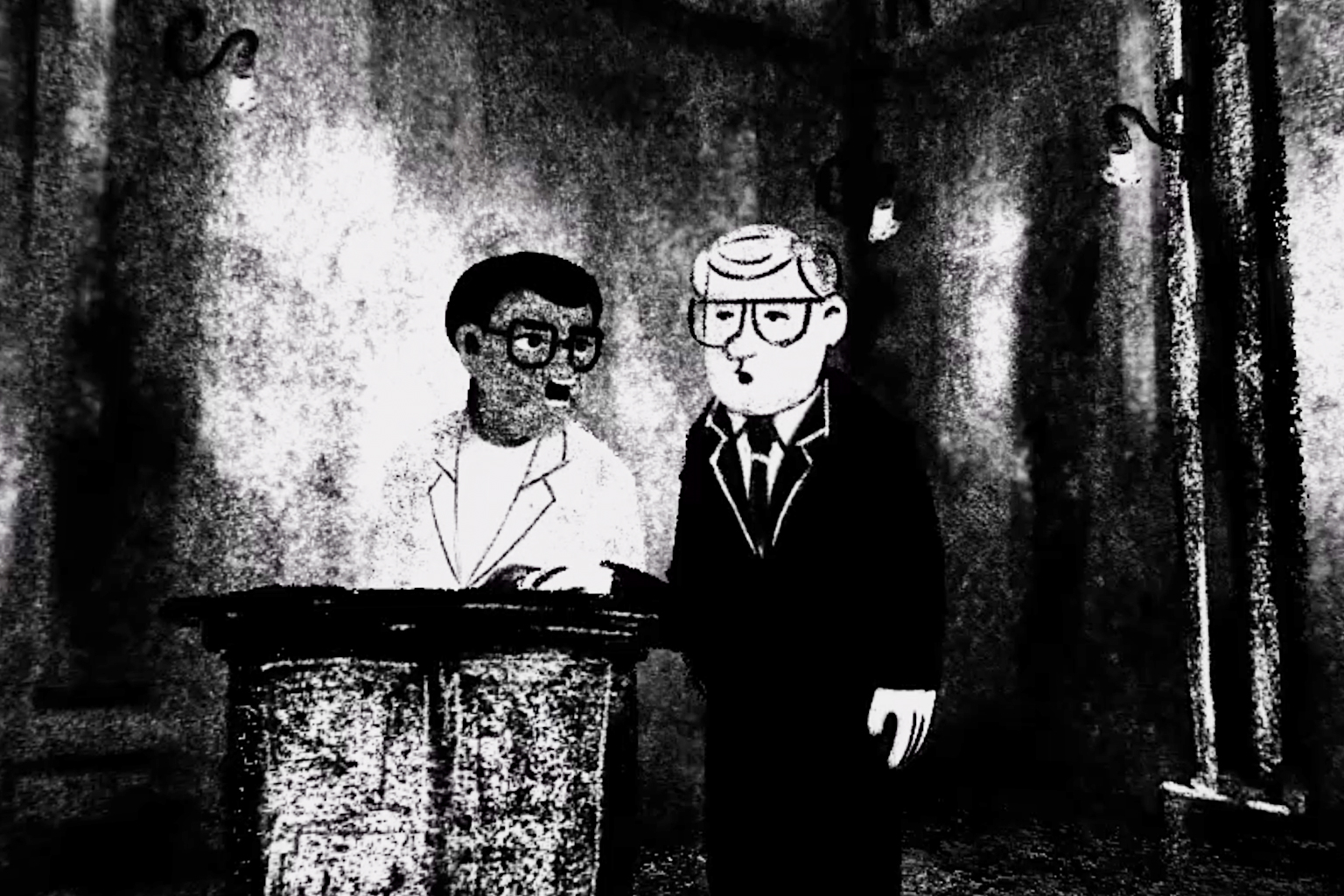Animation artist Oerd van Cuijlenborg's drawings used in the virtual reality film #Accused 2: Walter Sisulu take the viewer into the Palace of Justice in 1963 and 1964. Here he depicts Walter Sisulu answering questions by defence lawyer Bram Fischer.