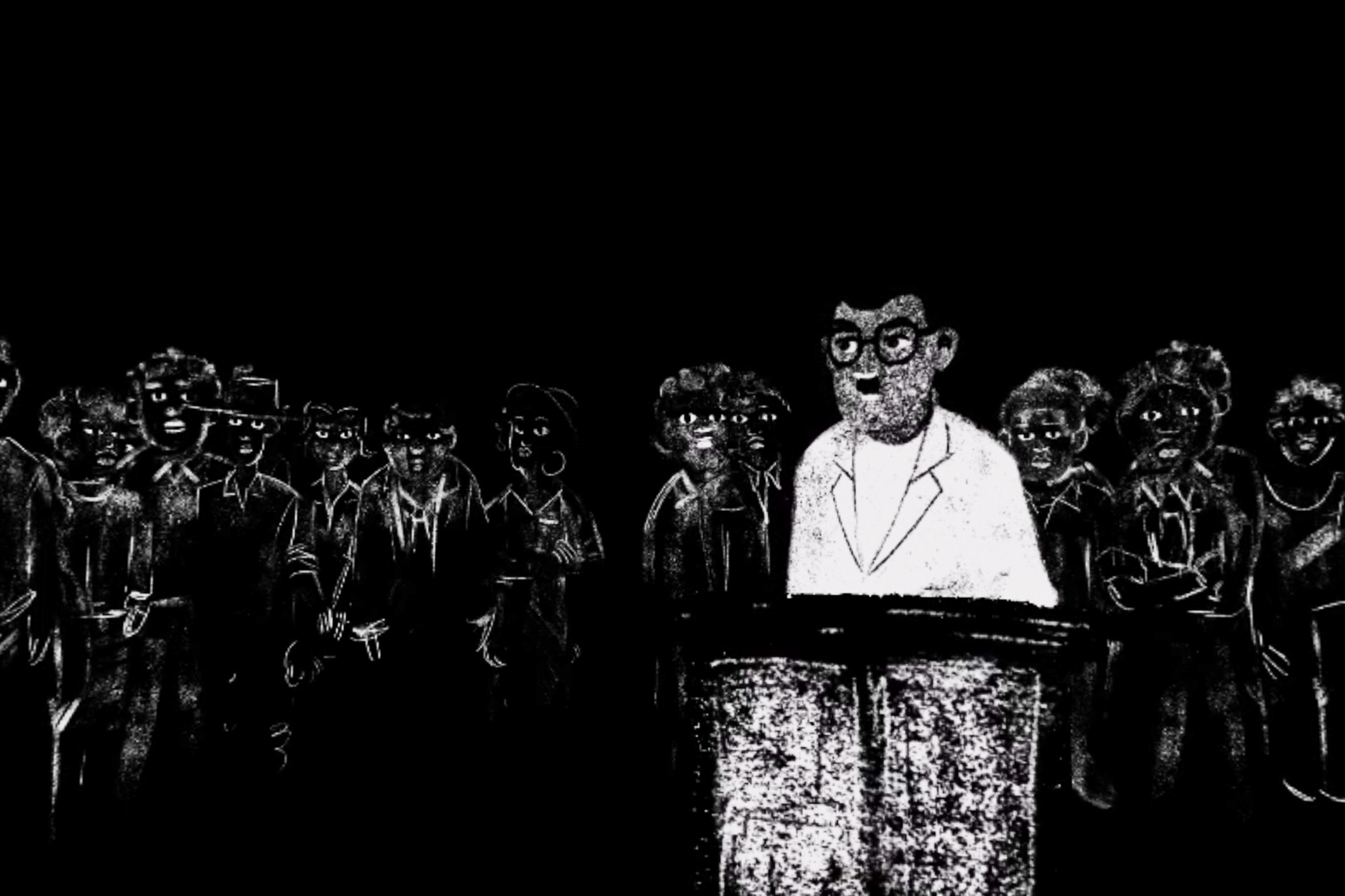 Black and white drawings in chalk and charcoal make a good visual match for the grainy, scratchy quality of the audio recordings from the Rivonia Trial. Depicted here, Walter Sisulu takes the stand.