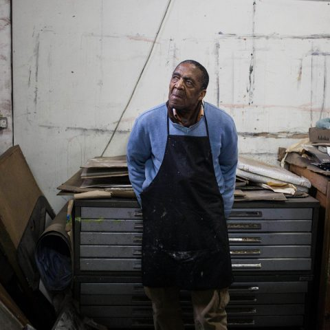 18 May 2018: David Koloane at his Bag Factory studio in Fordsburg, Johannesburg. Born in Alexandra in 1938, his drawings, paintings and collages explore political injustice and human rights. (Photograph by Oupa Nkosi)