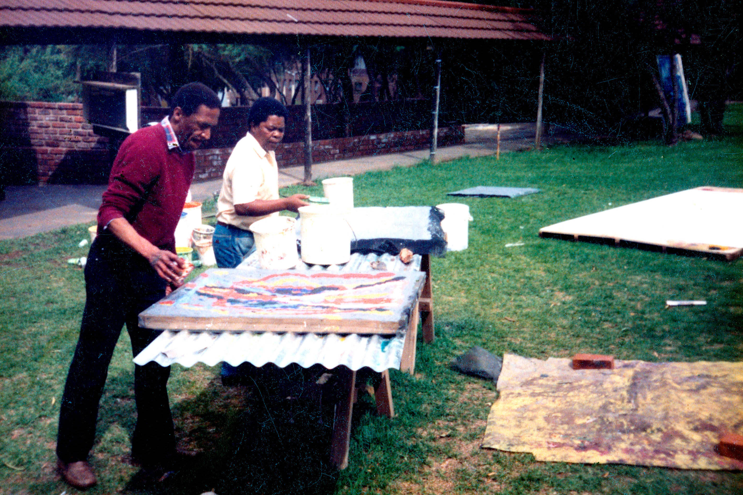 Circa 2000: From left, David Koloane and Durant Sihlali at the latter's paper-making workshop in Fleurhof, Johannesburg. (Photograph: Supplied)