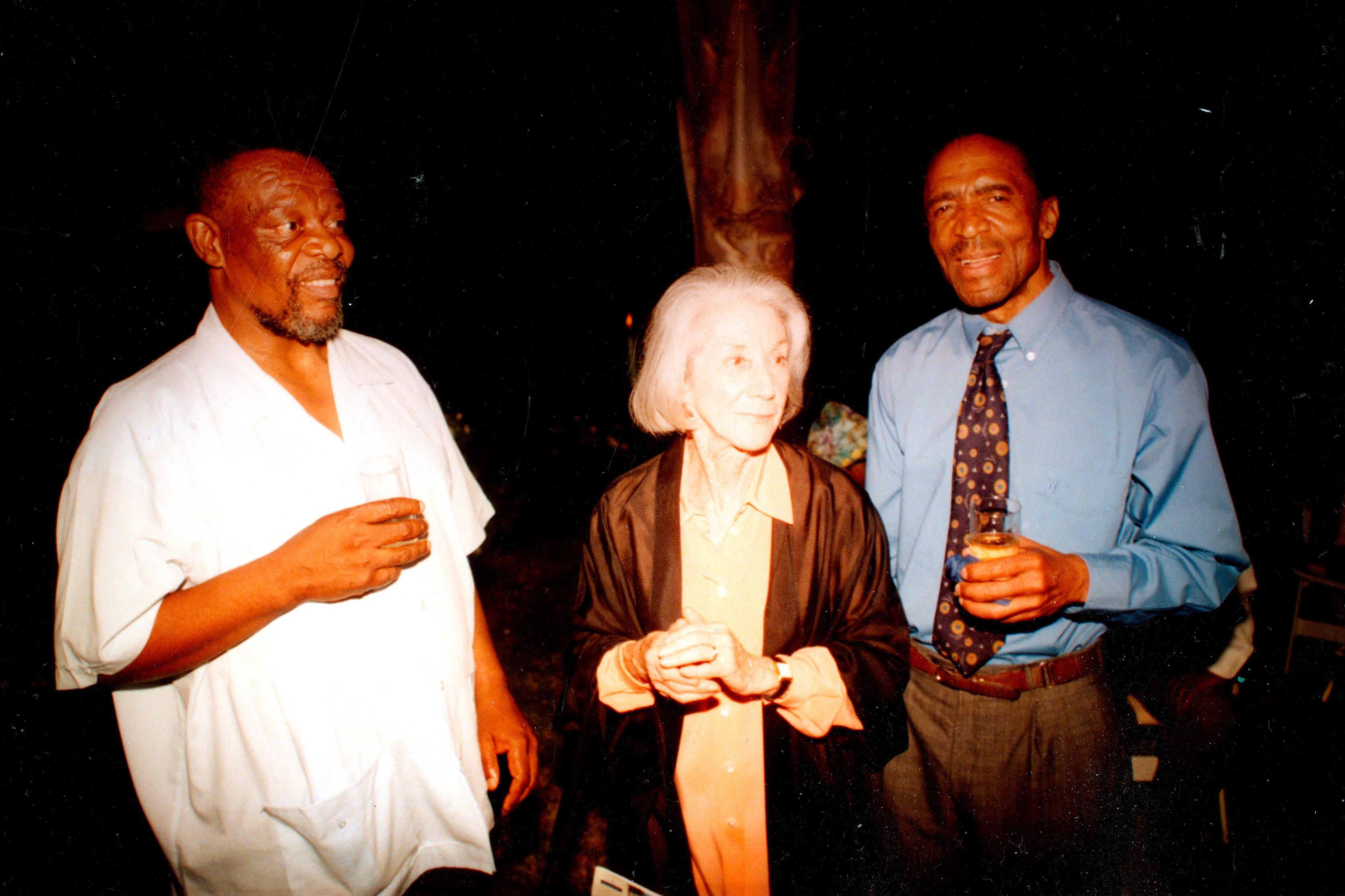 Undated: From left, poet Mongane Wally Serote, novelist Nadine Gordimer and David Koloane. (Photograph: Supplied)
