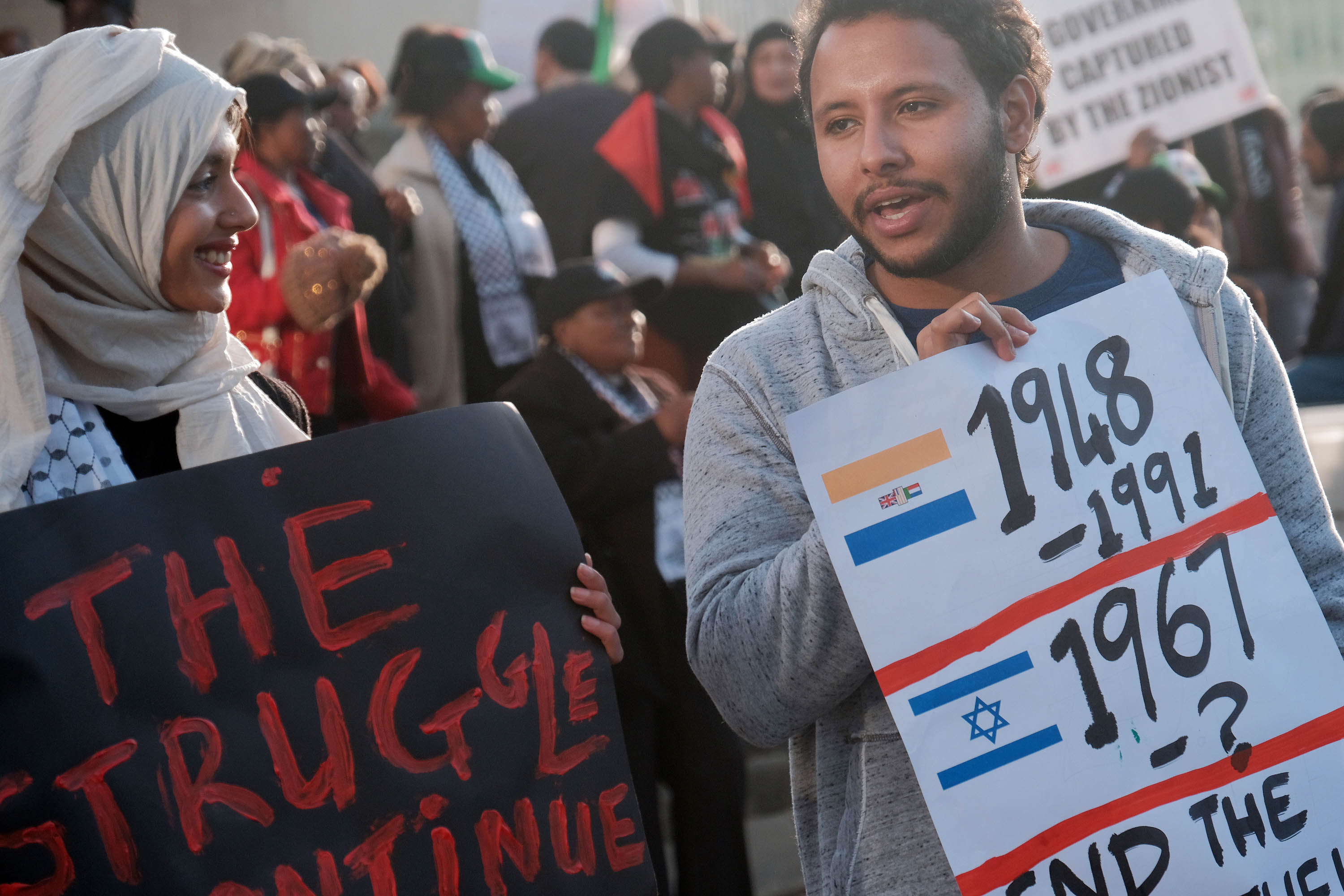 15 May 2018: Protestors outside the United States Consulate in Sandton, Johannesburg, object to US President Donald Trump moving the US embassy in Israel from Tel Aviv to Jerusalem. (Photograph by Dino Lloyd/Gallo Images/Getty Images)