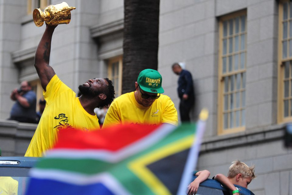 11 November 2019: Springboks Siya Kolisi and Francois Louw with the Webb Ellis Cup during the Cape Town leg of the Rugby World Cup Champions' tour in South Africa. (Photograph by Grant Pitcher/Gallo Images)