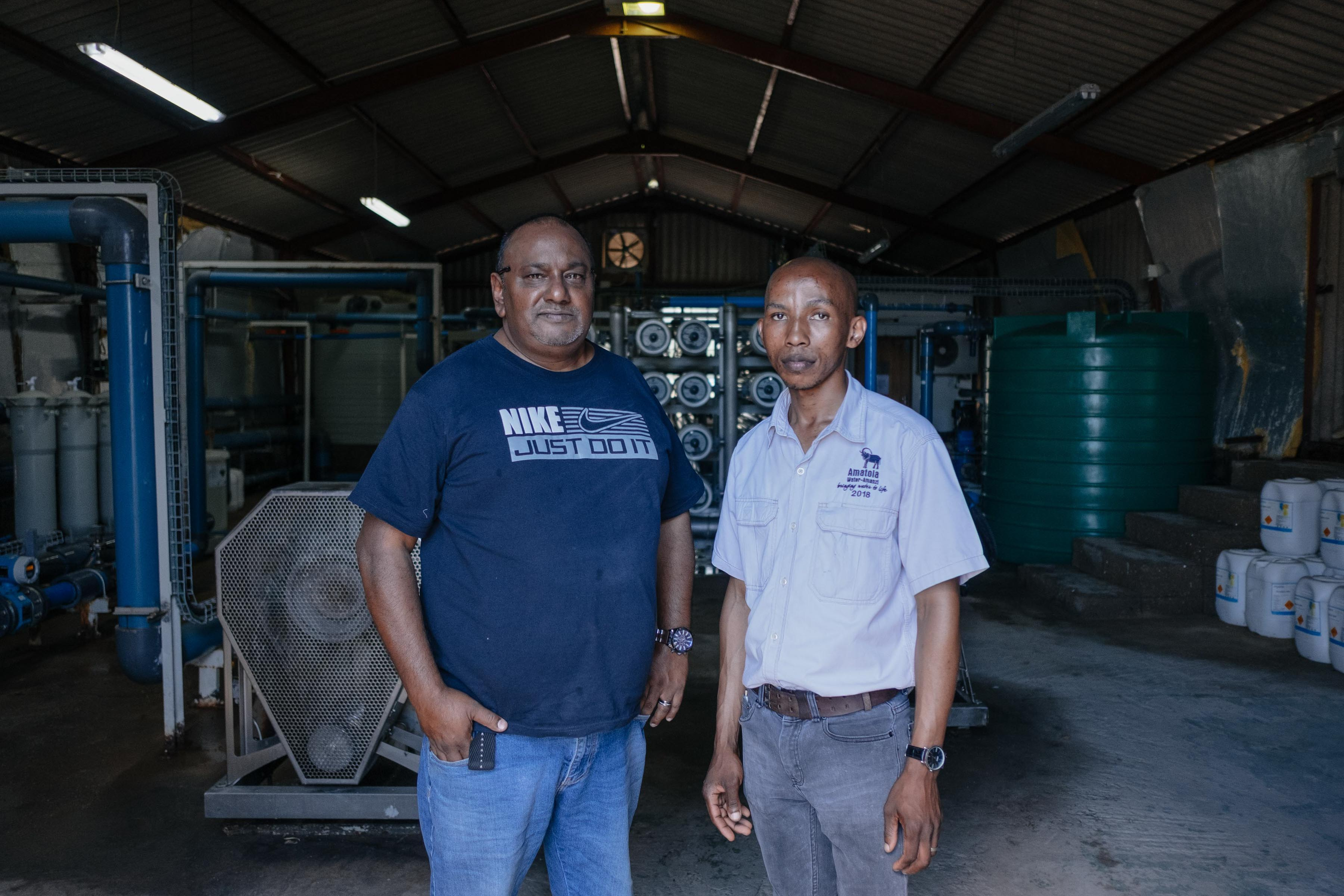 13 November 2019: From left, Amatola Water area operations manager Chris Nair and plant superintendent George Sokunene at the desalination plant in Kenton-on-Sea in the Eastern Cape.