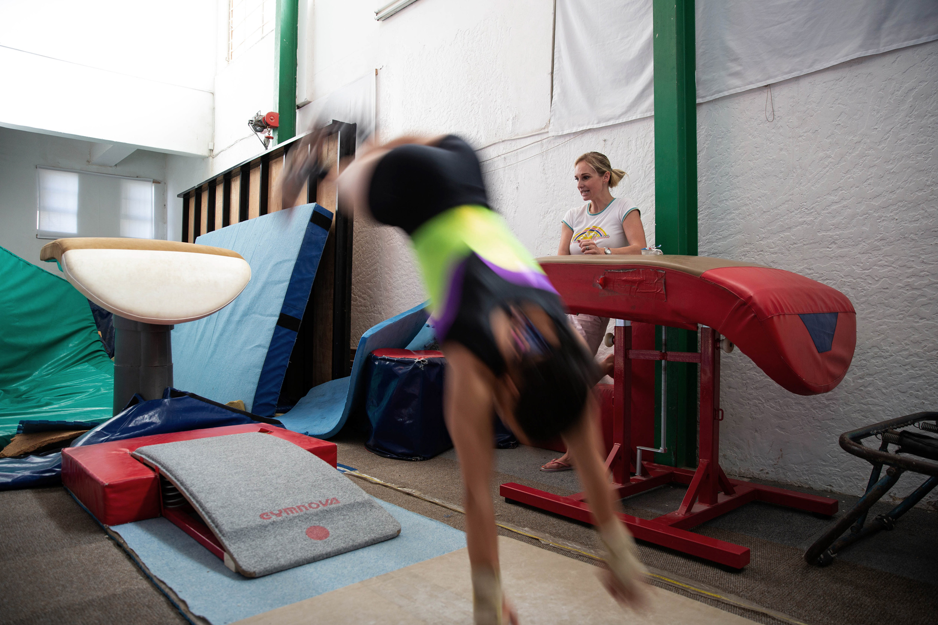 19 November 2019: Coach Ilse Pelser keeping a close eye on Caitlin Rooskrantz at the gymnastics centre where she trains.