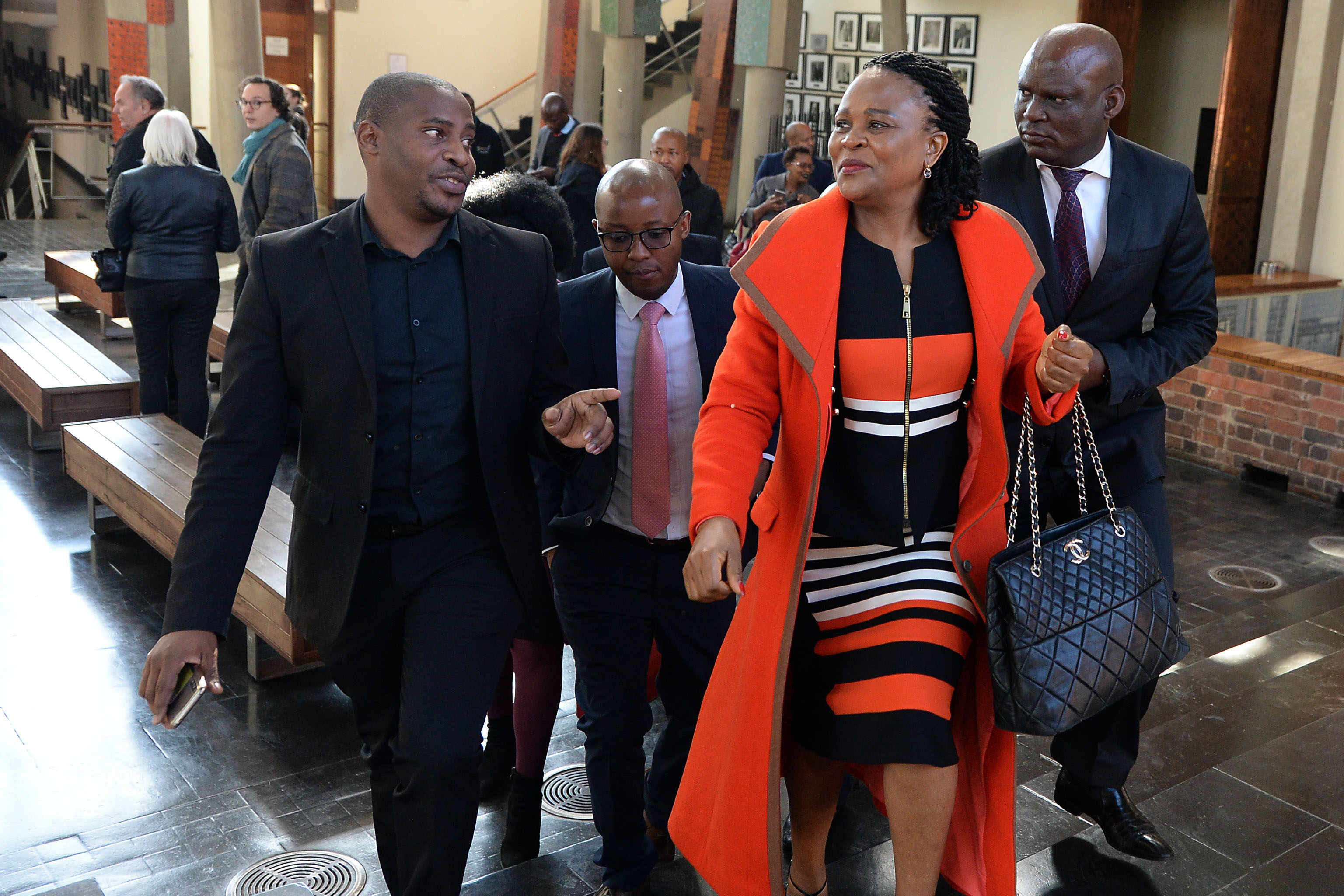 22 July 2019: Public Protector Busisiwe Mkhwebane (centre) at the Constitutional Court. (Photograph by Gallo Images/Netwerk24/Felix Dlangamandla)