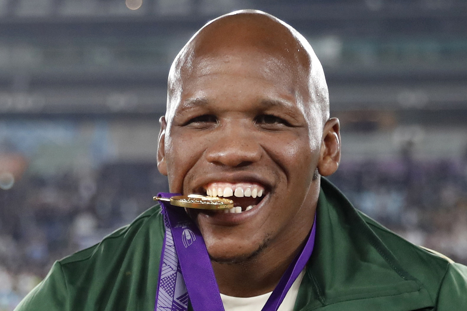 2 November 2019: Bongi Mbonambi celebrating with his gold medal after the Springboks won the Rugby World Cup by beating England in the final at the International Stadium Yokohama in Yokohama, Japan. (Photograph by Reuters/Matthew Childs)