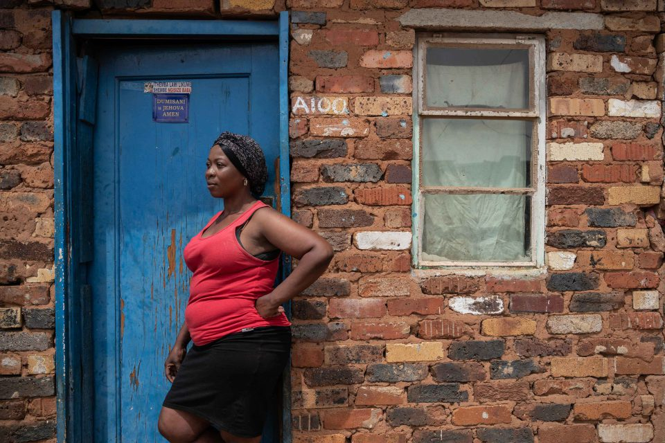 1 October 2019: Cindy Ndlovu outside her home in the Makause shack settlement. She says murders often take place here at night.