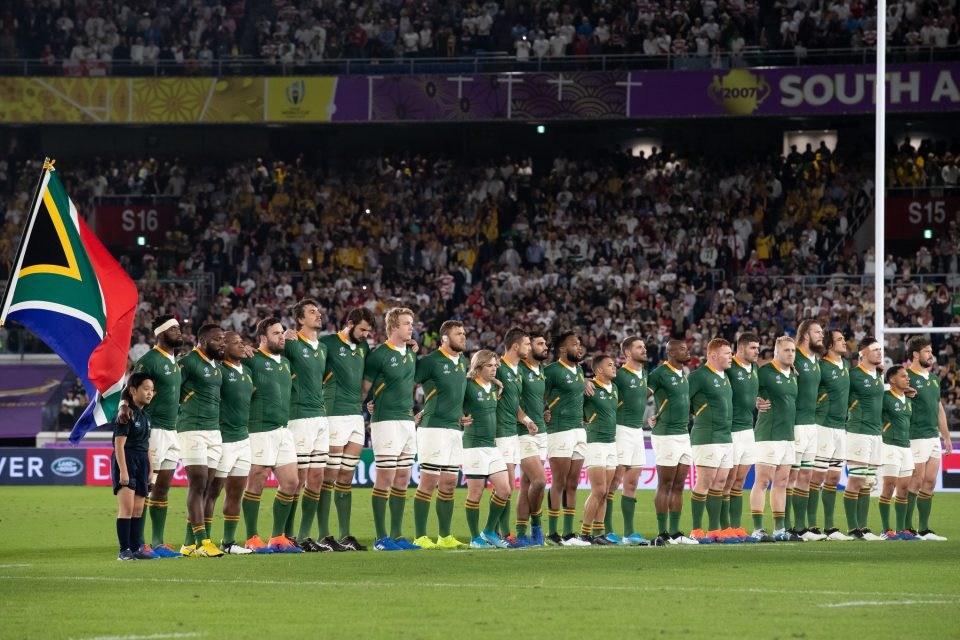 2 November 2019: The South African team during the anthems before the Rugby World Cup 2019 final at the International Stadium Yokohama in Tokyo, Japan. (Photograph by Juan Jose Gasparini/Gallo Images)