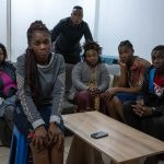 22 September 2019: Claudine Ndjowo (far left) helped the Ngonefi family with translation as Thethe Nsemuila Antaya speaks mainly French. Donette Ngonefi sits in front of her parents, Donatien Ngonefi Bubu and Thethe Nsemuila Antaya, with her sister Antaya Tabitha Ngonefi and brother Bonheur Ngonefi to the right.