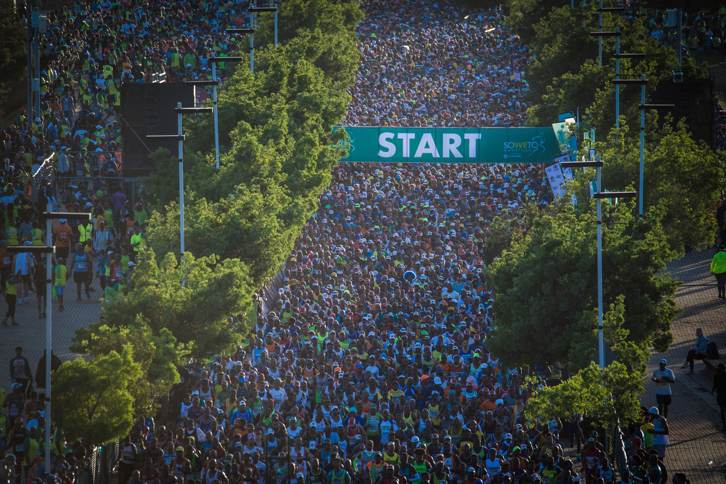 3 November 2019: The starting line of the 2019 Soweto Marathon at FNB Stadium in Soweto, south of Johannesburg, South Africa. (Photograph courtesy of Jetline Action Photo)