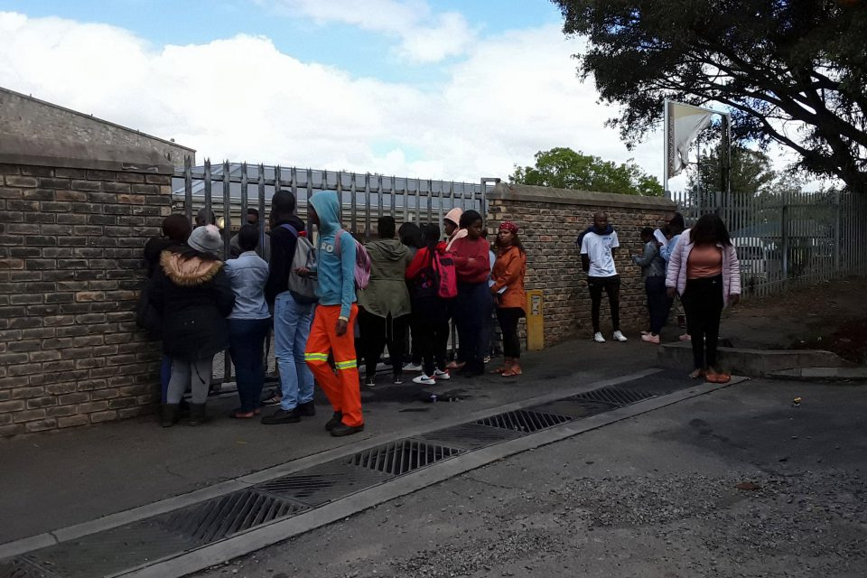 10 October 2019: Students were locked out of the Eastcape Midlands technical and vocational education and training college during exam time, allegedly after taking part in student protests. (Photographs by Anna Majavu)