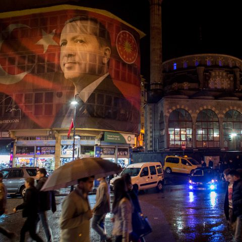 25 October 2019: A large image of Turkish President Recep Tayyip Erdoğan on a main street in Rize, Turkey. Under his leadership, Turkish society is undergoing its most dramatic restructuring in decades. (Photograph by Chris McGrath/Getty Images)