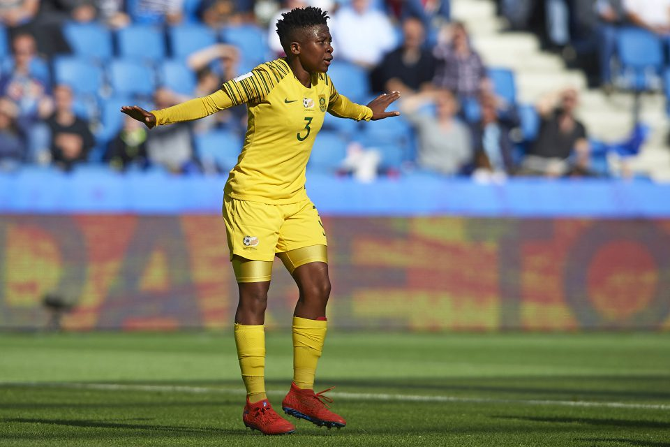 8 June 2019: Banyana's Nothando Vilakazi during South Africa's 2019 Fifa Women's World Cup group stage match against Spain at the Stade Océane in Le Havre, France. (Photograph by Quality Sport Images/Getty Images)